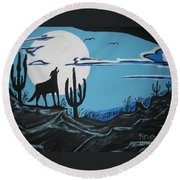 Round Beach Towel featuring the painting Coyote by Jeffrey Koss