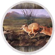 Round Beach Towel featuring the painting Coyote Run With Boarder by Rob Corsetti