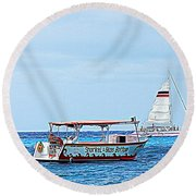 Round Beach Towel featuring the photograph Cozumel Excursion Boats by Debra Martz