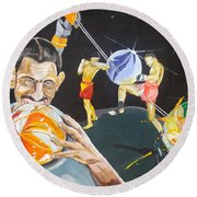 Round Beach Towel featuring the painting Cracking Marvels Cascando Canicas by Lazaro Hurtado