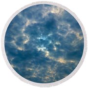 Crackled Sky Round Beach Towel