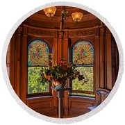 Craigdarroch Castle Stained Glass Round Beach Towel