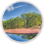 cranberry harvest series New Jersey Round Beach Towel
