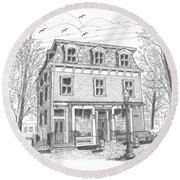 Cranberry's Cafe Circa 1884 Round Beach Towel