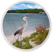 Crane By The Sea Shore Round Beach Towel