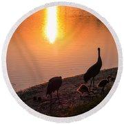 Cranes At Sunset Round Beach Towel