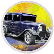 Vehicles Round Beach Towel featuring the photograph Crank It  by Aaron Berg