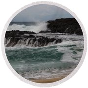 Round Beach Towel featuring the photograph Crashing Surf by Suzanne Luft