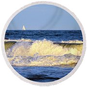 Crashing Waves And White Sails Round Beach Towel