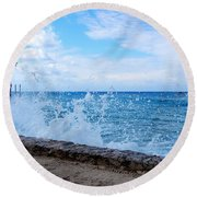 Round Beach Towel featuring the photograph Crashing Waves In Cozumel by Debra Martz