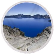 Round Beach Towel featuring the photograph Crater Lake by David Millenheft