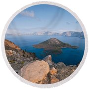 Crater Lake In The Evening Round Beach Towel
