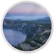 Crater Lake Sunset Round Beach Towel