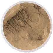 Crater On Mars Round Beach Towel