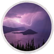 Crater Storm Round Beach Towel by Chad Dutson