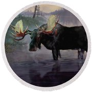 Craven Moose Round Beach Towel