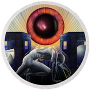 Round Beach Towel featuring the digital art Crawling To Life by Rosa Cobos