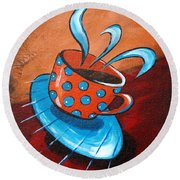 Crazy Coffee Round Beach Towel