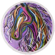 Round Beach Towel featuring the painting Crazy Horse by Janice Rae Pariza