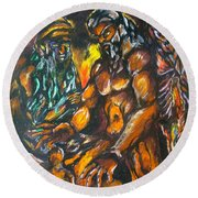 Round Beach Towel featuring the pastel Creation Creacion by Lazaro Hurtado