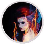 Creation Fire And Flow Round Beach Towel