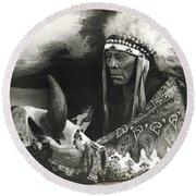Cree Chief With Buffalo Skull Round Beach Towel