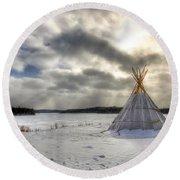 Cree Tepee Round Beach Towel