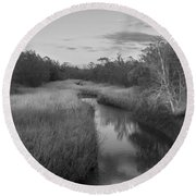 Round Beach Towel featuring the photograph Creek At Wilmington Island by Frank Bright