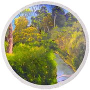 Creek In The Bush Round Beach Towel by Pamela  Meredith