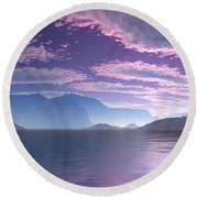 Crescent Bay Alien Landscape Round Beach Towel