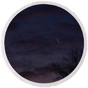Crescent Moon And Venus Rising Round Beach Towel