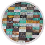Crested Butte License Plate House Round Beach Towel