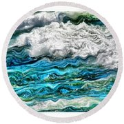 Cresting Waves Round Beach Towel by Michelle Calkins