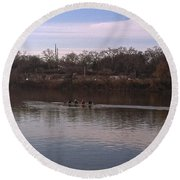 Crew On The Schuylkill - 1 Round Beach Towel