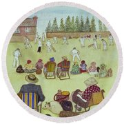 Cricket On The Green, 1987 Watercolour On Paper Round Beach Towel by Gillian Lawson