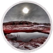 Round Beach Towel featuring the photograph Crimson Arch by David Andersen