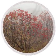 Crimson Fog Round Beach Towel