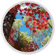 Round Beach Towel featuring the photograph Crimson Foliage by James Peterson