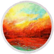 Crimson No.2 Round Beach Towel