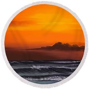 Round Beach Towel featuring the drawing Crimson Sunset by Anthony Fishburne