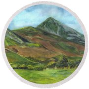 Croagh Saint Patricks Mountain In Ireland  Round Beach Towel by Carol Wisniewski