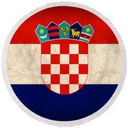 Croatia Flag Vintage Distressed Finish Round Beach Towel