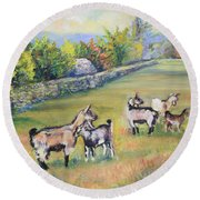 Croatian Goats Round Beach Towel