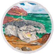 Round Beach Towel featuring the painting Crocodile Emphysema by Lazaro Hurtado