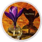Crocus Floral Birthday Card Round Beach Towel by Chris Berry