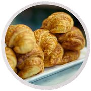 Croissants Ready To Eat Round Beach Towel