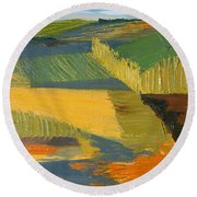 Round Beach Towel featuring the painting Crop Fields by Erin Fickert-Rowland