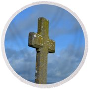 Cross At Cashel Round Beach Towel by DejaVu Designs