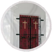 Key West Church Doors Round Beach Towel