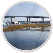 Cross Island Bridge Hilton Head Round Beach Towel